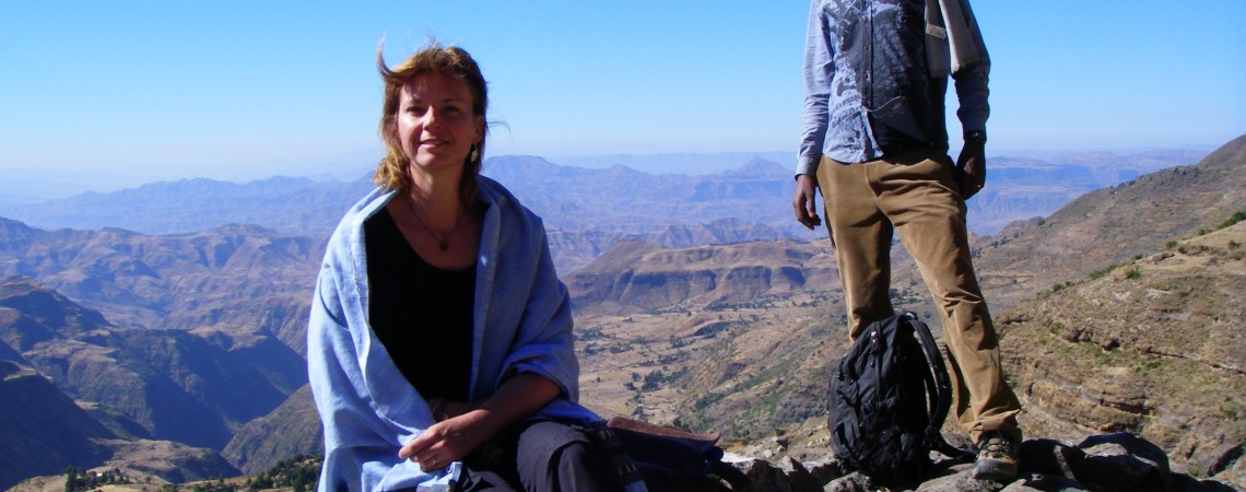 Linnea and Baye in the mountains of Lalibela